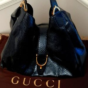 💜EXQUISITE💚RARE GUCCI PYTHON STIRRUP BAG